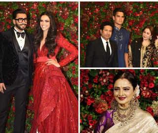 Deepika, Ranveer set fashion goals; Tendulkar, Rekha among guests at star-studded reception