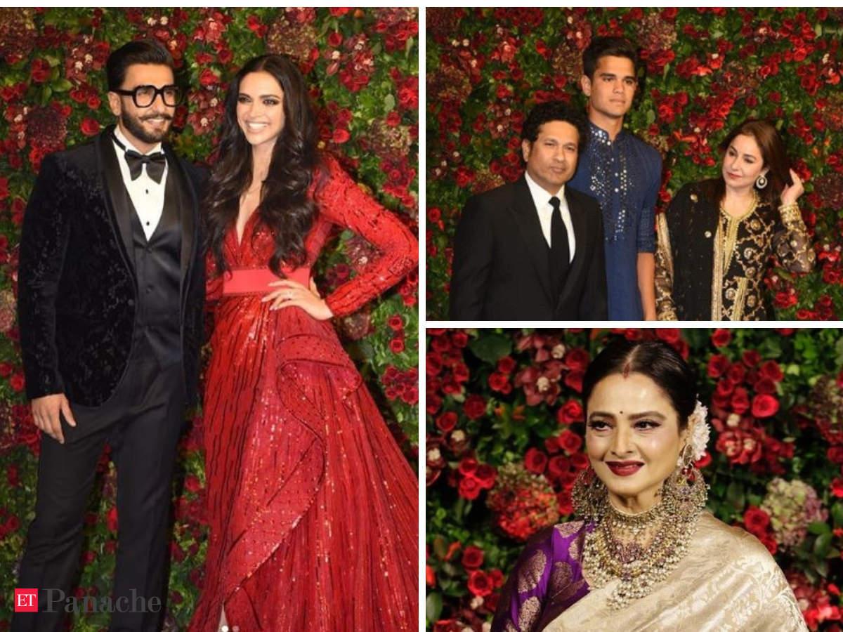 cffc8a3c2f Deepika, Ranveer set fashion goals; Tendulkar, Rekha among guests at  star-studded reception - The Economic Times