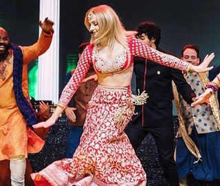 Sophie Turner glitters in Abu Jani-Sandeep Khosla outfit at Priyanka-Nick's sangeet