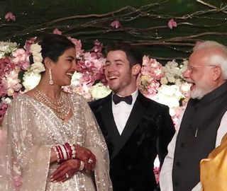 PM Modi attends Priyanka-Nick's dazzling Delhi reception, gifts them a rose each