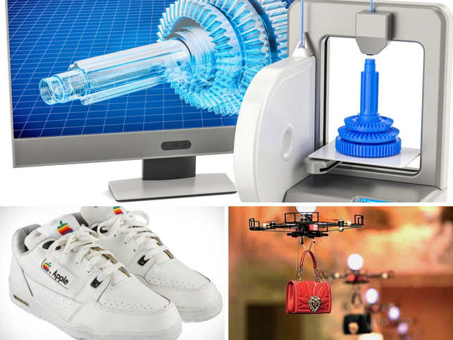 By Glynda AlvesScience and fashion aren't usually words that come up together in conversation. But, it looks like the universe is geeking out, as these two worlds collide.In pic: 3D printer (top), Apple Sneakers (Bottom left), Drone carrying handbags (Bottom right)