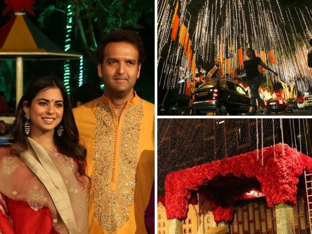 Antilia Decked Up With Flowers Diyas For Isha Ambani Anand