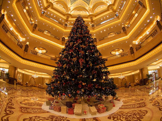 It's no surprise that the most expensive tree in the world was put on display in the land of excess — the UAE. The Emirates Palace hotel, the luxury Abu Dhabi hotel, in 2010, unveiled what is thought to be the world's most expensive Christmas tree, valued at more than $11 million. The 13-metre fake evergreen tree, located in the hotel's lobby, was decorated with silver and gold bows, ball-shaped ornaments and small white lights. However, clearly not satisfi ed with just that, the hotel also hoisted watches, necklaces and solid gold bracelets. In hindsight, for a hotel that provides automatic machines to sell gold bars and the use of a private jet, a $11.4 million Christmas tree is no big deal.