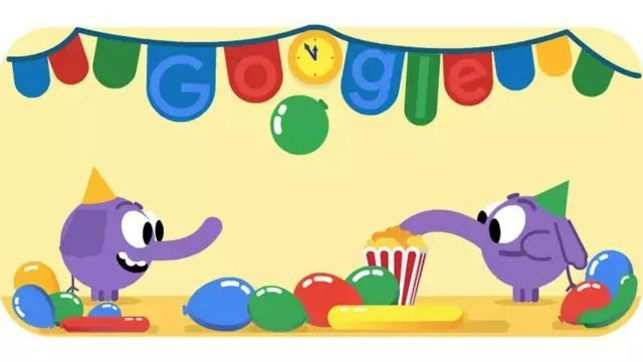 Google celebrates New Year's Eve with a doodle featuring purple elephants