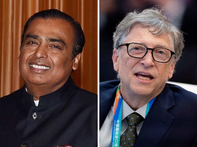 Mukesh Ambani and Bill Gates