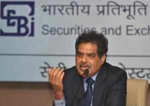 New Delhi: SEBI chairman Ajay Tyagi speaks to the media during a press conferenc...