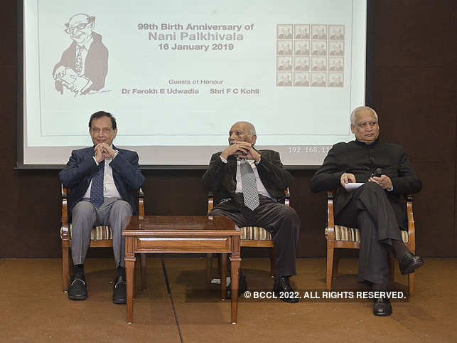 Dr Farokh Udwadia, Mr F C Kohli and Dr Dharmendra Bhandari at 99th birth anniversary celebration of Nani Palkhivala at CCI