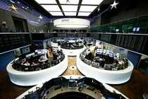 The trading floor is pictured at the stock exchange in Frankfurt