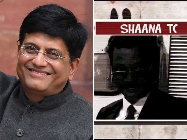 Piyush Goyal (L) and a screenshot of the 'Tera Time Aayega' video