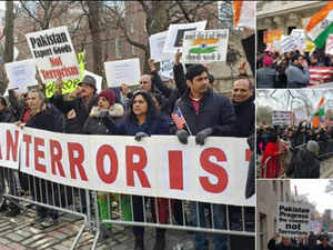 NRIs stage anti Pak protest outside Pakistan consulate in New York