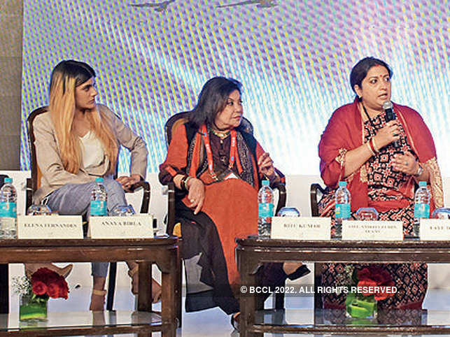 (L-R) Ananya Birla, Ritu Kumar, Smriti Zubin Irani at the panel discussion