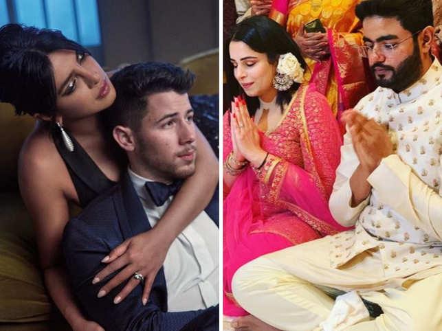 (L-R) Priyanka Chopra, Nick Jonas, Siddharth Chopra and Ishita Kumar