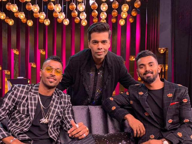 (L-R) Hardik Pandya, Karan Johar and KL Rahul