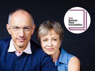 Sir Michael Moritz KBE and his wife Harriet Heyman (inset - The Booker Prize Foundation logo)