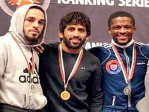 Bajrang Punia (c) with other medal winners