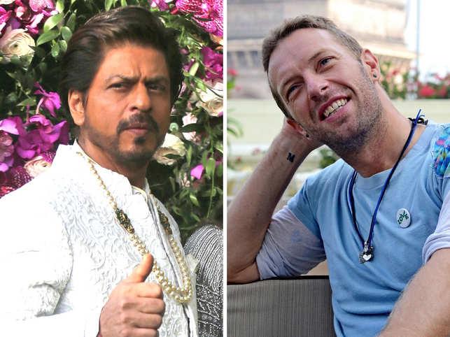 Shah Rukh Khan and Chris Martin (R)