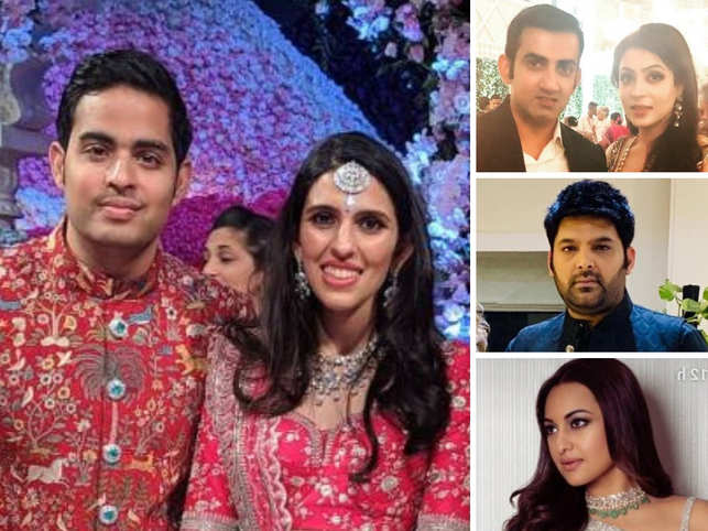 (Clockwise from left) Newly-weds Akash and Shloka, Gautam Ganbhir with wife Natasha, Kapil Sharma, and Sonakshi Sinha