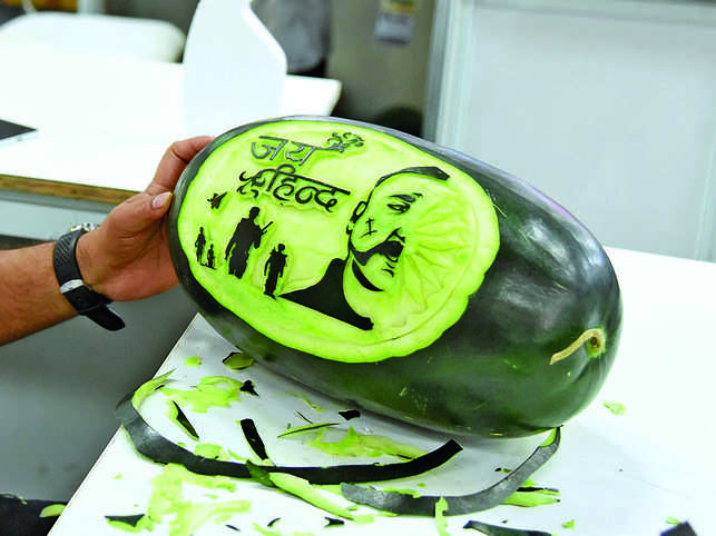 Chef Jitender Singh pays tribute to Indian Air Force Wing Commander Abhinandan with carved watermelon