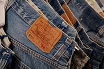 The Levi's tag is seen on pants hanging in a Levi Strauss store in New York