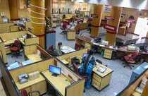 Mumbai: A deserted look of Punjab National Bank Fort branch office during the 48...
