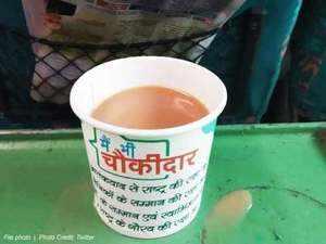 Railways in soup over tea cups with 'main bhi chowkidaar' slogan