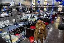 Hyderabad: A State Bank of India branch wears a deserted look during bank employ...