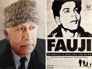Colonel Raj Kapoor and 'Fauji' poster, featuring Shah Rukh Khan (R)