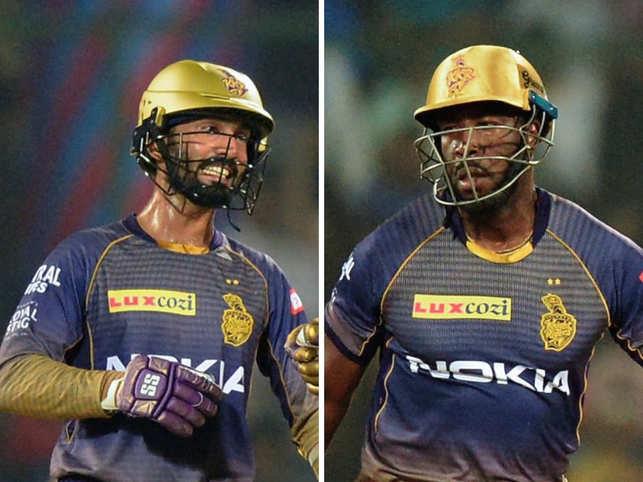 Dinesh Karthik and Andre Russell (R)