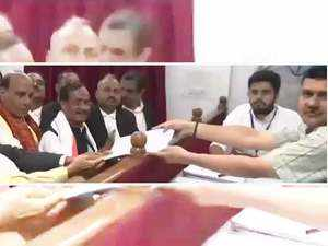 Watch: Rajnath Singh files his nomination in Lucknow