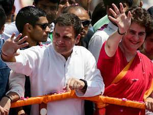 Indian National Congress party president Rahul Gandhi (L) and his sister Priyanka Gandhi AFP