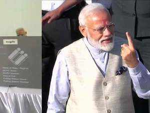 PM Modi casts his vote at Ranip polling booth