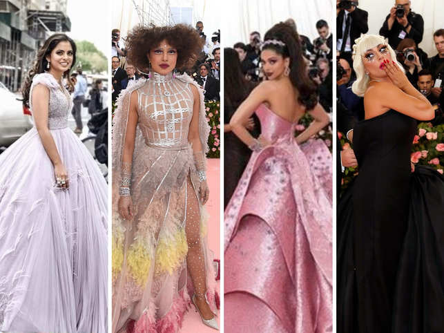 """The 2019 Met Gala saw stars bring their best fashion game to the pink carpet keeping in theme with this year's theme 'Camp: Notes on Fashion'. The theme was inspired by a seminal 1964 essay by American author Susan Sontag in which she describes the phenomenon as something that shan't be talked about: """"To talk about Camp is therefore to betray it.""""  The Metropolitan Museum of Art, whose yearly bash welcomes over-the-top looks based on a theme, saw pink and gold, trains, fringe and fur as the gala kicked off in New York City.  Singer Lady Gaga, Gucci designer Alessandro Michele, British singer Harry Styles and tennis superstar Serena Williams joined Vogue editor Anna Wintour in co-chairing the event, which raises money for the Costume Institute.     In Pic (L to R): Priyanka Chopra, Deepika Padukone, Lady Gaga."""