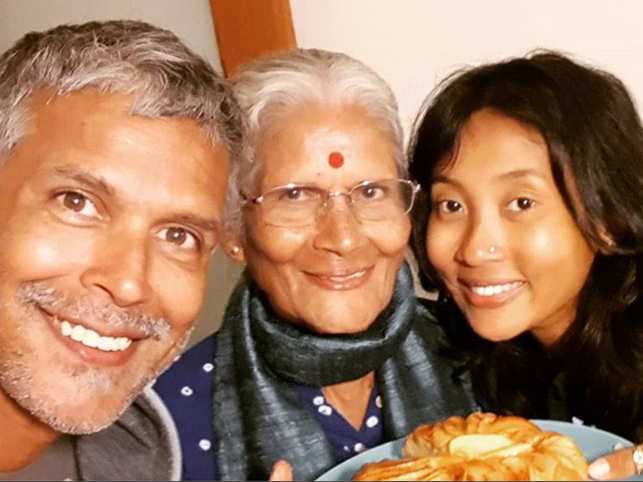 Milind Soman, his mom Usha and wife Ankita Konwar