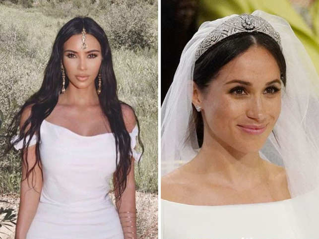 Entrepreneur Kim Kardashian (L) was criticised for wearing a 'maang tikka' to a church service. A look at other times that a piece of jewellery sparkled for different reason.