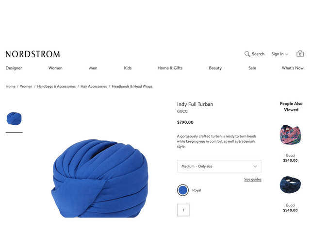 805deb133f18f The turban in question -- and several other versions of it in different  colours -- actually debuted on the runway in February 2018.