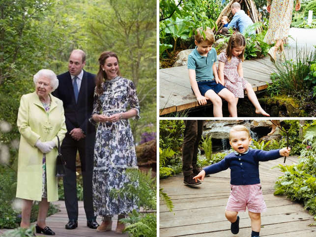 Sunday afternoon offered the Duke and Duchess of Cambridge, Prince William and Kate Middleton, a chance to connect with nature. The royal couple, accompanied by their children, Prince George, Princess Charlotte and Prince Louis visited the RHS Back to Nature Garden at this year's Chelsea Flower Show in London. The garden is a woodland setting which offers people a chance to connect with nature.Today, the royal couple welcomed Queen Elizabeth II and showed her around the exhibit, designed by landscape architects Andrée Davies and Adam White and co-designed by the duchess herself.Here's a sneak peek into some of the most adorable moments from the royal family's day out.