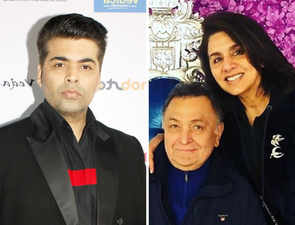 Karan Johar meets his favourite couple in New York,  gives Neetu & Rishi Kapoor the 'tightest hug'