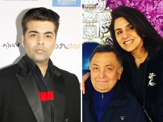 Karan Johar meets his favourite couple in New York,  gives Neetu & Rishi Kapoor the 'tightest hug'