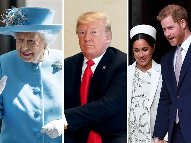 (L-R) Queen Elizabeth II, Donald Trump, Meghan Markle and Prince Harry