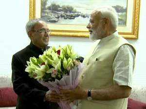 Watch: PM Modi meets Pranab Mukherjee to seek blessings