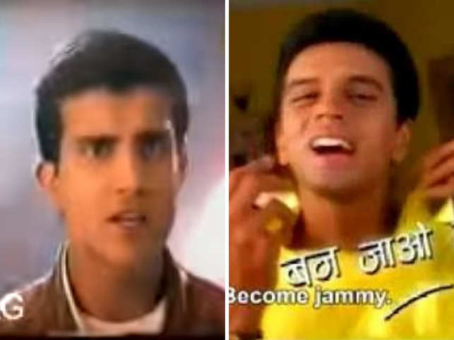 ​Sourav Ganguly (L) made the fans go 'aww' as he danced with Hrithik Roshan for Hero Honda, and Rahul Dravid (R) ditched his dignified, classy​ appearance for a playful part in Kissan Jam ad.
