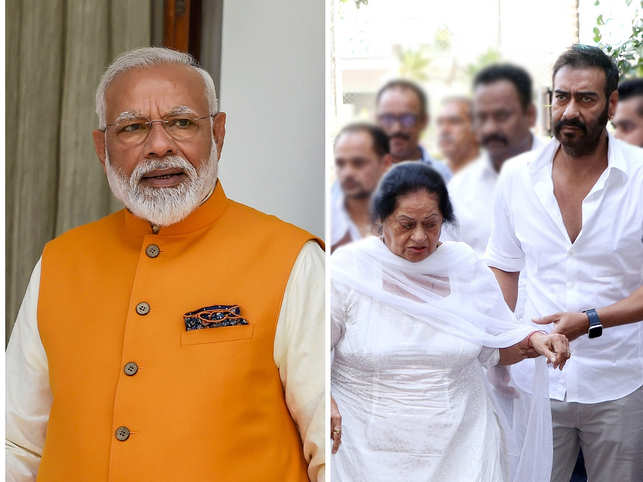 Ajay Devgn (R) took to Twitter to share the letter PM Modi (C) sent to Veeru Devgan's wife Veena (C).
