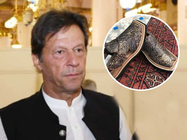 The shop owner claims that snakeskin was sent from the US to craft two pairs of the 'Kaptaan Chappal' (representative image in inset) for Imran Khan.