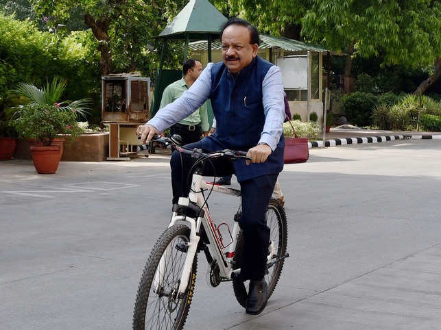 ​Harsh Vardhan arrived on a bicycle at Nirman Bhawan to take charge as Union Health Minister in the newly-elected PM Modi's cabinet in New Delhi.