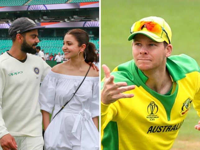 Anushka Sharma (C) is smitten by Virat Kholi's on-field gesture supporting Australian player Steve Smith (R).