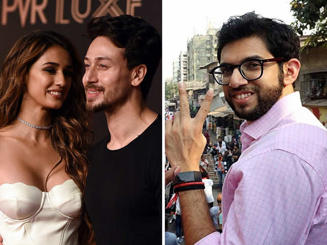 Disha Patani (L), who is rumoured to be dating Tiger Shroff (C), and Aditya Thackeray (R) pictures sent social media users into a frenzy.