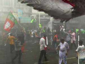 Watch: Clashes during BJP rally in Kolkata, police use water cannon