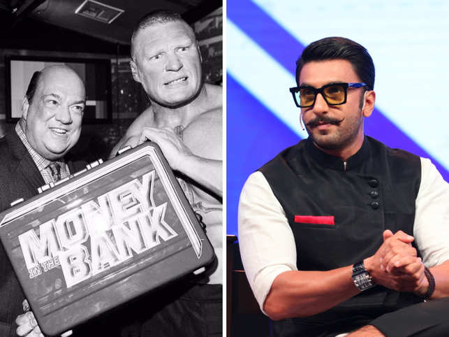 Paul ​​Heyman (L) said that Brock Lesnar (C) popularised the catchphrase inside the wrestling ring​ that was used by Ranveer Singh (R).