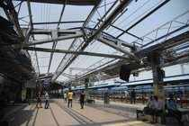 Bhubaneswar: A view of the damaged Bhubaneswar railway station due to Cyclone Fa...