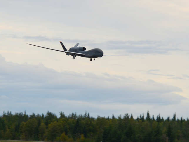 RQ-4A Global Hawk can stay aloft for 34 hours.